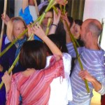 Kreisdurchdringung mit Bambusstäben, Haus freier Gedanken, Budapest